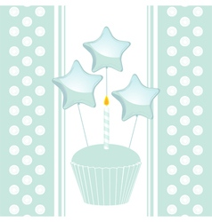 blue birthday cupcake with candle and balloons on vector image vector image