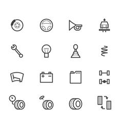 car check black icon set on white background vector image