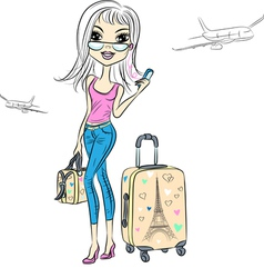 girl with suitcases travels the worl vector image vector image