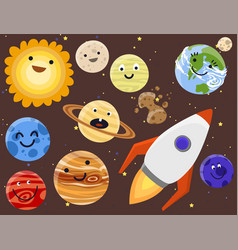 high quality solar system space planets flat vector image