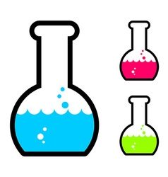Laboratory flask with acid tube for research vector