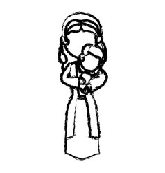 virgin mary and her holy baby religious vector image