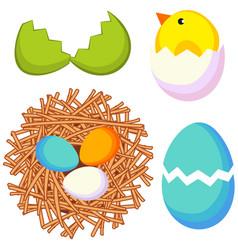 cartoon easter icon set chicken nest egg shell vector image