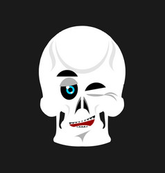 skull winks emoji skeleton head happy emotion vector image vector image