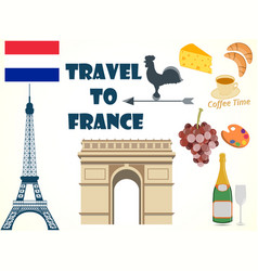 symbols of france set tourism vector image