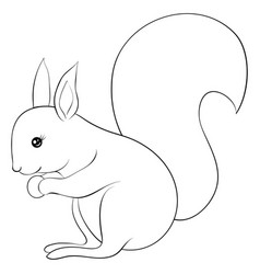 a children coloring bookpage a cartoon squirrel vector image