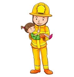 A coloured sketch of a fireman saving a child vector image