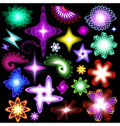 A set of neon shining brilliant design elements vector image