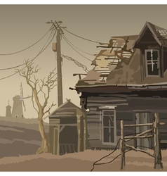 Abandoned village with a ruined house and mills vector image