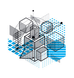 Abstract design with 3d linear mesh shapes and vector