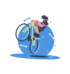 Active dude rides bicycle vector