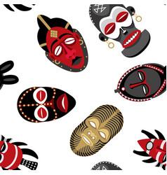 african masks pattern 2 vector image