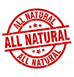 All natural round red grunge stamp vector