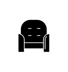 Armchair front black glyph icon vector