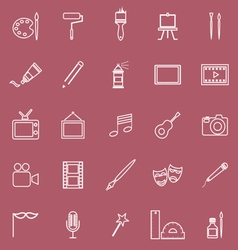 Art line icons on red background vector