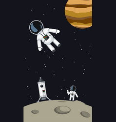 Astronauts with spaceship on moon vector