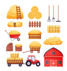 Bale hay set farm barn tractor fence vector