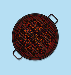 bbq grill top view vector image