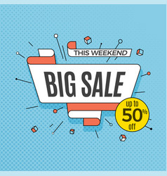 Big sale retro design element in pop art style on vector