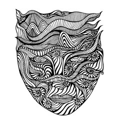 black and white psychedelic face crazy patterns vector image