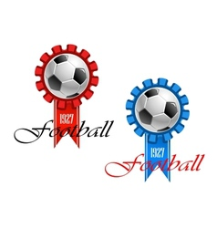 Blue and red crests of football vector image