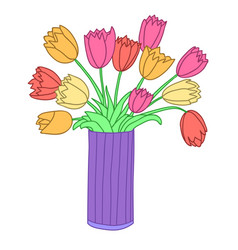 Bouqet of pink red orange and yellow tulips in vector