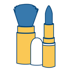 Brush and lipstick make up vector