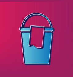 bucket and a rag sign blue 3d printed vector image