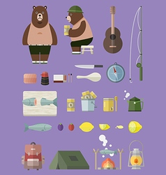 Camping with Bear set vector image