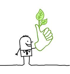 Cartoon man with big green thumb vector