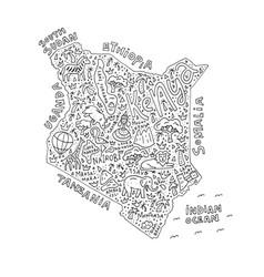cartoon map of kenya vector image