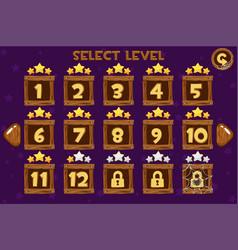 cartoon wooden level selection screen game ui set vector image