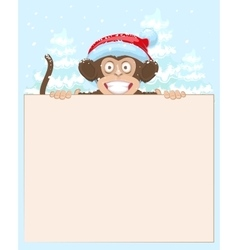 Christmas monkey holding white banner Monkey vector image