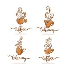 coffee shop and ctake away coffee logo vector image