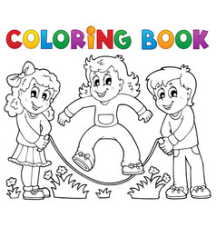 coloring book kids play theme 1 vector image