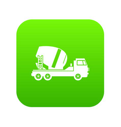 concrete mixer truck icon digital green vector image