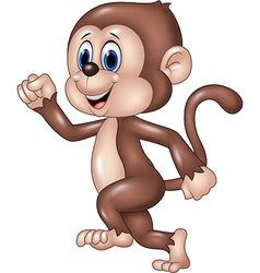 Cute monkey running isolated on white background vector image