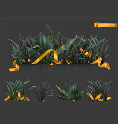 dark grass with gold ribbons 3d realistic icon set vector image