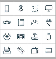Device icons set with presentation antenna vector