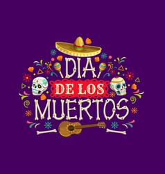 dia de los muertos mexican holiday banner vector image