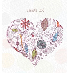 Doodles with heart made of floral vector