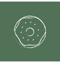 Doughnut icon drawn in chalk vector