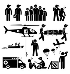 Emergency rescue team stick figure pictogram vector