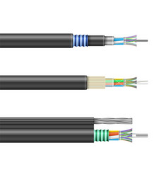 fiber cable isolated realistic set icon vector image