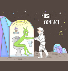 first time meeting of astronaut and alien in space vector image