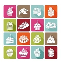 Flat dessert icons of cakes for bakeries and vector