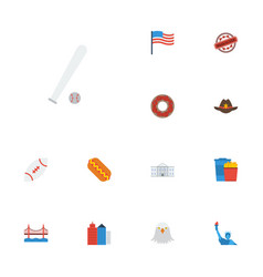 Flat icons sausage america metropolis and other vector