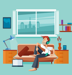 Flat interior with man on sofa vector