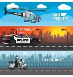 Flat Police Banner Set vector image