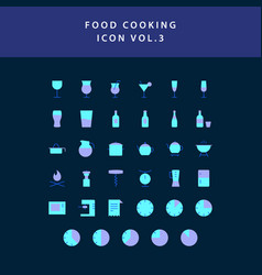 food cooking icon set flat style design set vol 3 vector image